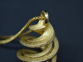 Twisted Spiral  in Polished Gold Steel