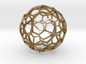 PENTAGONAL HEXECONTAHEDRON in Polished Gold Steel