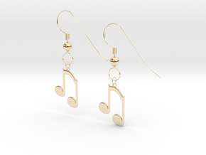 Music note earrings version 2 in 14K Yellow Gold