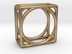 Simply Shapes Pendants Cube in Polished Gold Steel