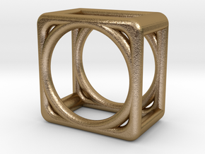 Simply Shapes Rings Cube in Polished Gold Steel: 4.75 / 48.375