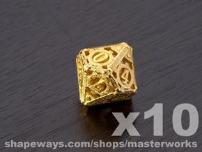 Steampunk 10d10 Set in Matte Gold Steel