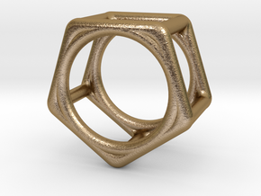 Simply Shapes Rings Pentagon in Polished Gold Steel: 3.25 / 44.625