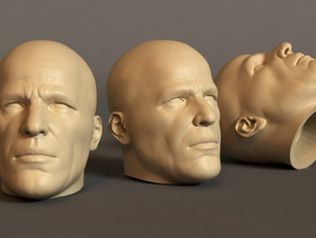 Generic Male Head 1/6 scale figure - Variant 08 in White Processed Versatile Plastic: Small