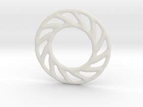 Soft spiral mandala shape for earrings or pendant in White Premium Versatile Plastic