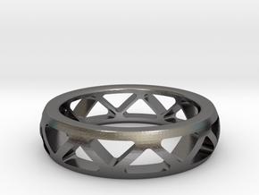 Geometric Ring- size 10 in Polished Nickel Steel