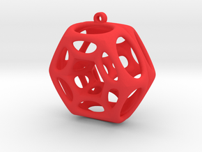 Voronoi Klein Earring (001) in Red Processed Versatile Plastic