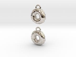 Donuts W Sprinkles Earrings in Rhodium Plated Brass