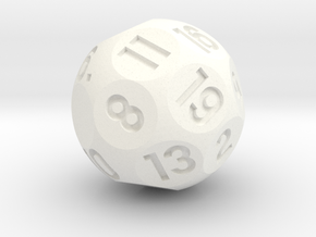 d19 Sphere Dice in White Processed Versatile Plastic