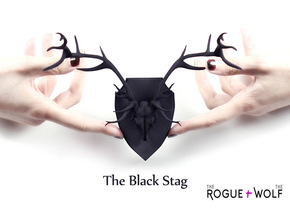 The Stag Mini Faux Taxidermy in Black Natural Versatile Plastic