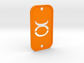 Taurus (The Bull) DogTag V2 in Orange Processed Versatile Plastic