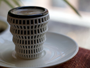 Wireframe Espresso Cup (Shell) in White Natural Versatile Plastic