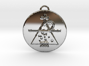 Aquarius Talisman in Fine Detail Polished Silver