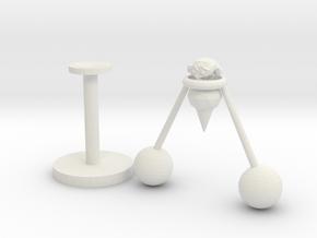 Balancing Monkey in White Natural Versatile Plastic