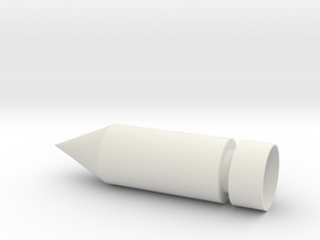 Pointed Bullet Spike in White Natural Versatile Plastic