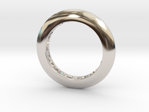 Ring shaped pendant with a raw band inside in Rhodium Plated Brass