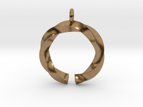Open and twisted ring - Pendant or earrings in Natural Brass
