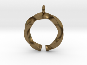 Open and twisted ring - Pendant or earrings in Natural Bronze