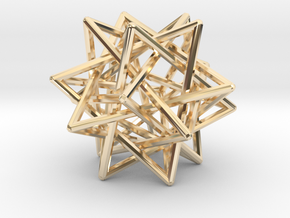 Interlaced Tetrahedrons 3 Inch x 3 Inch in 14k Gold Plated Brass