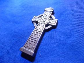 Celticcross keyring in Polished Bronzed Silver Steel