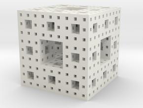 Menger sponge Square Cube in White Natural Versatile Plastic