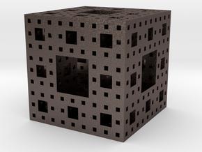 Menger sponge Square Cube in Polished Bronzed Silver Steel