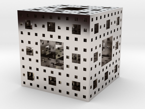 Menger sponge Square Cube in Rhodium Plated Brass