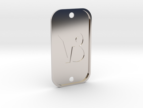 Capricorn (The Mountain Sea-goat) DogTag V4 in Rhodium Plated Brass