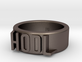 HODL Ring - Plain (Size 13) in Polished Bronzed Silver Steel