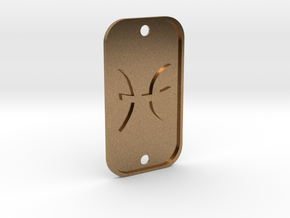Pisces (The Fish) DogTag V1 in Natural Brass