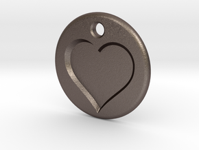 Inset Heart Pendent in Polished Bronzed Silver Steel