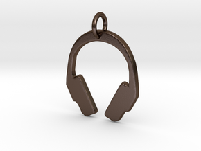 Headphones Pendant in Polished Bronze Steel