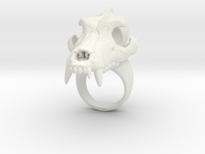 Wolf Skull Ring in White Natural Versatile Plastic: 3.75 / 45.875