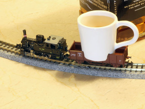 Cup for N scale trains in Gloss White Porcelain