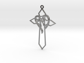 Personalised Heart Cross Earring in Fine Detail Polished Silver