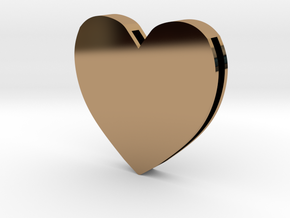 Rebirth Harley Sliding Heart (5 size options) in Polished Brass: Large