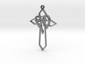 Personalised Heart Cross Pendant in Fine Detail Polished Silver