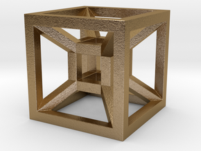 HYPERCUBE in Polished Gold Steel
