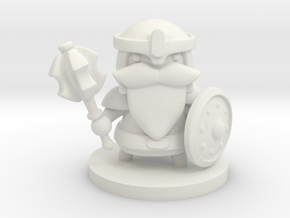 Dwarf Fighter in White Premium Versatile Plastic