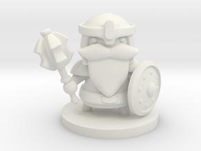 Dwarf Fighter in White Premium Versatile Plastic