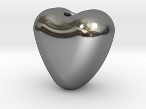 Heart Beads in Polished Silver: Small