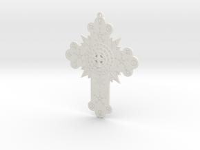 GD Rose Cross Lamen in White Natural Versatile Plastic: Large