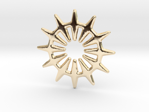 12 pointed star geometric base shape in 14K Yellow Gold