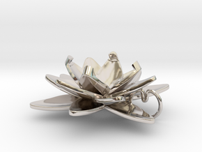 Lotus in Rhodium Plated Brass
