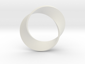 0155 Mobius strip (p=2, d=5cm) #003 in White Premium Strong & Flexible