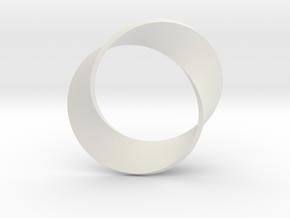 0155 Mobius strip (p=2, d=5cm) #003 in White Premium Versatile Plastic