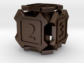 'X' d6 die in Polished Bronze Steel