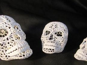 Nautilus Sugar Skull - SMALL in White Strong & Flexible Polished