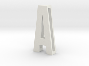 CHOKER SLIDE LETTER A 1⅛, 1¼, 1½, 1¾, 2 inch sizes in White Natural Versatile Plastic: Medium
