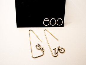 Amsterdam Bike and Tulip Earrings in Natural Bronze